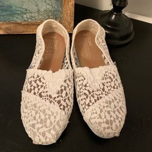 TOMS All-White Slip Ons Gently Used